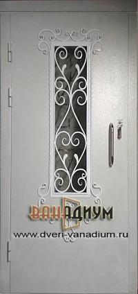 Металлическая дверь со стеклом и ковкой СК47