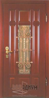 Дверь массив дуба с ковкой МД4