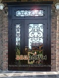 Элитная дверь со стеклом и ковкой 15