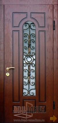 Дверь со стеклом и ковкой СК14