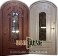 Дверь арочная стеклопакет и ковка 06