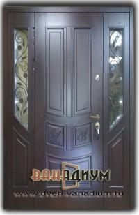 Двустворчатая дверь МДФ+стеклопакет и ковка 10.