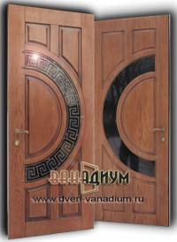 Металлическая дверь со стеклом и ковкой СК33