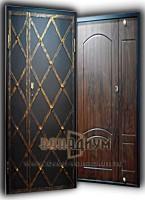 Металлическая двустворчатая дверь с ковкой СК31.