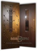 Металлическая дверь со стеклом и ковкой 44.