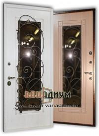 Металлическая дверь со стеклом и ковкой СК35.