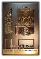 Двустворчатая дверь МДФ+стеклопакет и ковка 11.