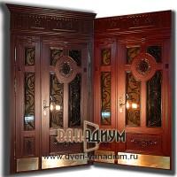 Элитная дверь со стеклом ковкой и львом 03.