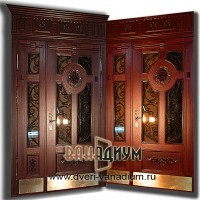Металлическая дверь со стеклом ковкой и львом 28.