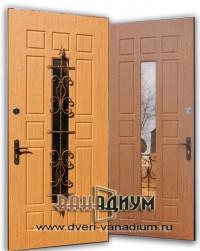 Дверь для дачи со стеклом и ковкой СК17