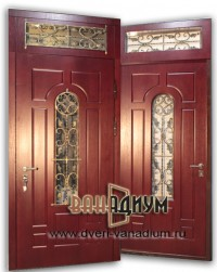 Металлическая дверь со стеклом и ковкой СК20