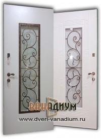 Металлическая дверь со стеклом и ковкой ДС.39.