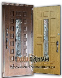 Металлическая дверь со стеклом и ковкой СК25.