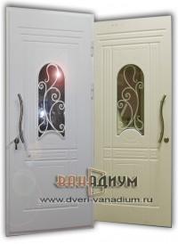 Металлическая дверь со стеклопакетом и ковкой ДС.38.