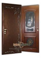 Дверь с порошковым напылением ковкой + МДФ с рисунком ДП7