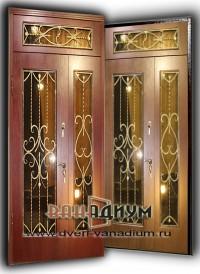 Элитная дверь со стеклом и ковкой 02.