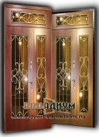 Металлическая дверь со стеклом и ковкой 27.
