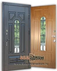 Металлическая дверь со стеклом и ковкой СК26