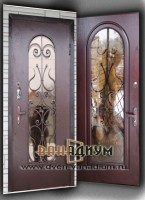 Металлическая дверь со стеклом и ковкой СК30
