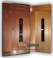 Дверь тамбурная МДФ+МДФ c ковкой и стеклопакетам дт 16.