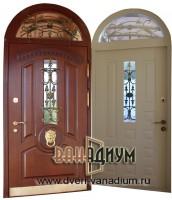Металлическая дверь со стеклом арочная СК22.