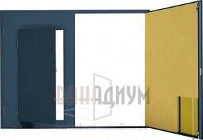 Гаражные ворота распашные с калиткой отделка фанерой