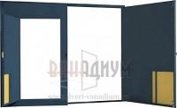 Гаражные ворота распашные с калиткой металл с двух сторон